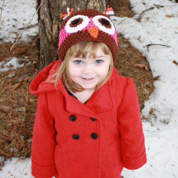 Pink sparkle and Brown Crocheted Owl Hat Baby Shower, First Christmas, First Winter