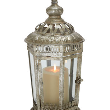 Antique Themed Metal Glass Lantern
