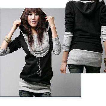 Korea Women's Long Sleeve Cotton tops dress Hood coat 2312