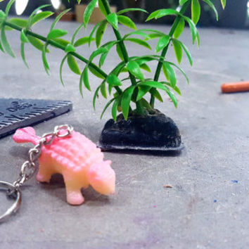Keychain Dinosaur Pink Ankylosaurus FREE SHIPPING!  Great Stocking Stuffer