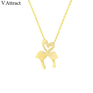 V Attract Friendship Gift Rose Gold Love Heart Bird Choker BFF Jewellery Accessories Cute Flamingo Statement Necklace for Women