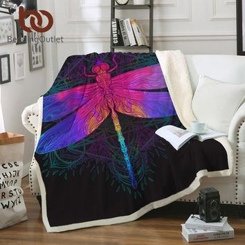BeddingOutlet Dragonfly Mandala Sherpa Blanket Colorful Bedspread Boho Purple Pink Insect Velvet Plush Beds Blanket 150x200cm