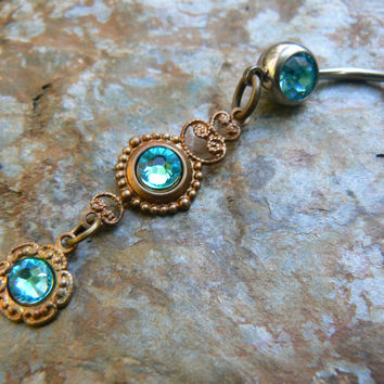 Turquoise trio belly ring Swarovski cabachon in beach summer moroccan belly dancer indie gypsy hippie morrocan boho and hipster style