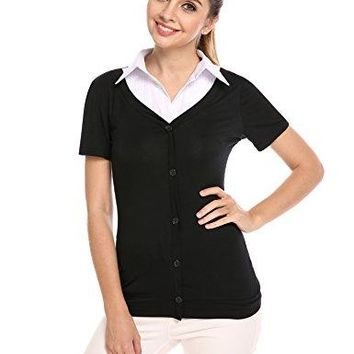 Zeagoo Womens Stretch Button Down Collared Short Sleeve Shirt 2 in 1 Top