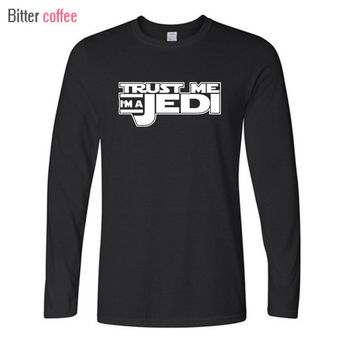 BITTER COFFEE Autumn winter Mens T Shirts Star Wars Jedi Knigh Hip Hop Funny Long sleeve  Print Casual Camisetas Tops & Tees