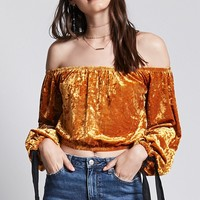 Contemporary Velvet Crop Top