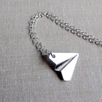 Paper Airplane Necklace Harry Styles Airplane Necklace One Direction Paper Airplane 925 Sterling Silver Chain Unisex necklace