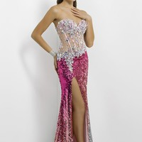 Blush Prom 9715 Pink Ombre Sequin Gown