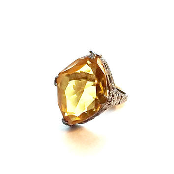 Art Deco Citrine Ring, Sterling Silver Filigree, Victorian Engagement Ring,  Antique Promise Ring,