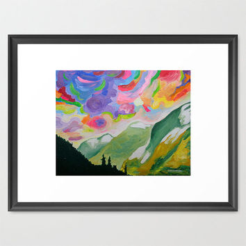 ORIGINAL Acrylic Painting - First Snow On The Coquihalla - 11x14 colorful Clouds, Sky and Mountain Art