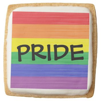 Painted Rainbow Flag Square Shortbread Cookie