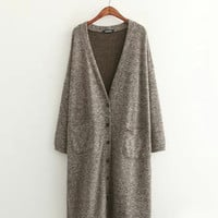 V-Neck Buttoned Knitted Cardigan