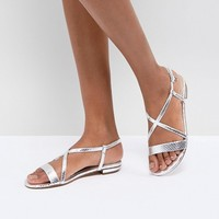 Dune Flat Sandal in Metallic Silver at asos.com