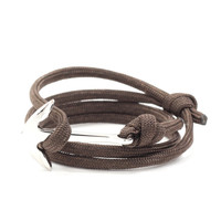 Silver Anchor on Dark Brown Rope