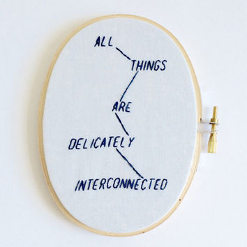 Jenny holzer truisms hand stitched embroidery hoop art wall decor feminist wall art phrase cross stitch