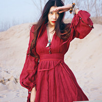 Johnature Women Red Dress Maxi Robe Plus Size 2017 Summer Nation Style Loose Red Dandage Dress Cotton Linen Fashion Beautiful