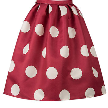 Red Polka Dot Silky Skater Skirt