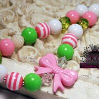 Girls Boutique Jewelry Pink and Green Chunky Beaded Bow Necklace