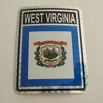 "West Virginia Flag Reflective Sticker 3""x4"" Inches Adhesive Car Bumper Decal"