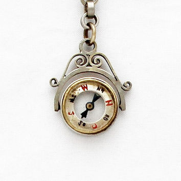 Antique German Pocket Watch Chain with Compass