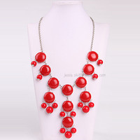 Red Bubble Necklace Bubble Bib Necklace Silver Tone by GemPearls