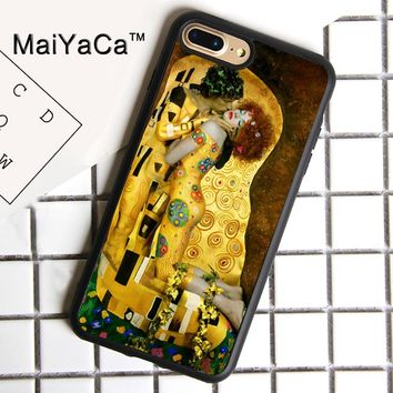 MaiYaCa The Kiss Gustav Klimt Print Soft Rubber Cover For iPhone 8 Plus Case For Apple iPhone 8plus Phone Cases Shell