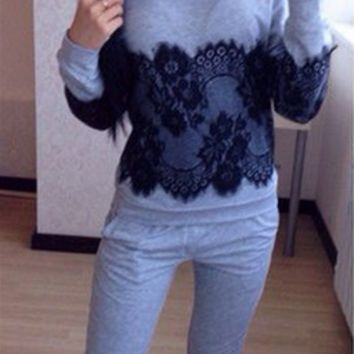 Lace Patchwork Sweater Two Piece Set 12132