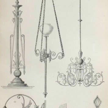 Electric Lighting, Three Black and White Pictures, Antique Prints, 19th Century Pictures, Geekery
