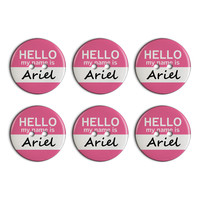 Ariel Hello My Name Is Plastic Resin Button Set of 6