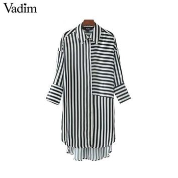 chic casual striped loose long shirts three quarter sleeve turn down collar high street blouse female oversized tops