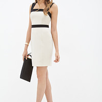 LOVE 21 Colorblocked Sheath Dress Cream/Black