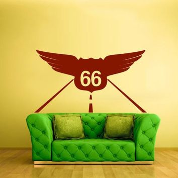 Wall Vinyl Decal Sticker Bedroom Decal Road Highway 66 Roadway Symbol  z504