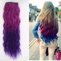 Uniwigs Ombre Dip-dye Color Clip in Hair Extension 55-60cm Length Red to Purple Loose Curl for Fashion Girls Tbe0013
