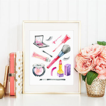 Makeup Print, Beauty Print, Makeup Decor, Lipstick Print, Lip Gloss, Mascara, Eyelashes, Makeup Art, Vanity Decor, Bathroom Decor, Chanel