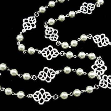 Pearl Necklace, Long Pearl Necklace, Silver Necklace, Bridal Party Jewelry, Black Pearl Necklace, Blue Pearl Necklace