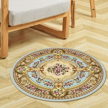 Europe Printing Round Carpet For Living Room Computer Chair Floor Mat