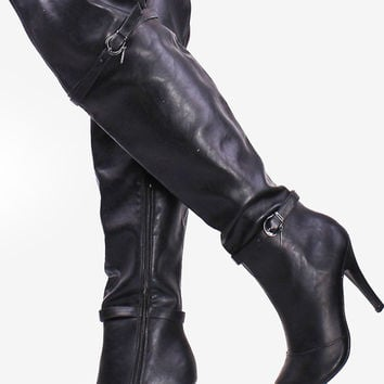 Black Thigh High Heel Boots Faux Leather