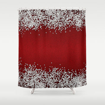 Shiny Red Texture With Silver Sparkles Shower Curtain by Tees2go | Society6