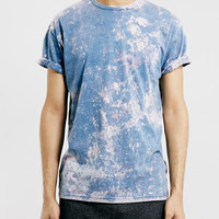 BLUE ACID WASH ROLLER FIT T-SHIRT - Topman