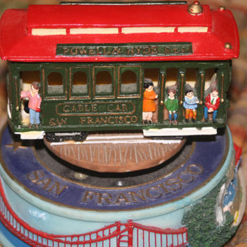 Vintage Cable Car Music Box,Cast Musical Street Car,San Francisco
