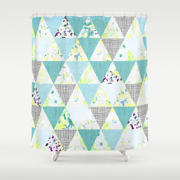 PASTEL NEON GEO FLORALS IN MINT Shower Curtain by Nika