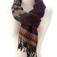Tribal Woven Fringe Scarf by Charlotte Russe - Tan Combo
