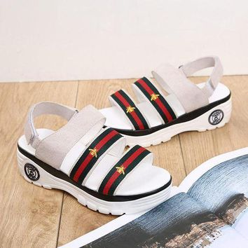 Leather Sandals Stylish Thick Crust Velcro [415631999012]