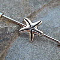 Star Fish Industrial Barbell 14ga Body Jewelry Ear Jewelry Double Piercing 316L Surgical Stainless Steel