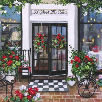 """A Spot for Tea"" Susan Rios Keepsakes  8 x 10"