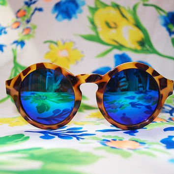 Oversized Round Sunglasses Tortoise Mirrored Circle Retro Glasses - Mallory