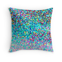 Aqua Blue Multicolored Abstract Art Shapes Pattern Throw Pillow by Christina Katson- Colorful pillows home decor dorm decor- cute pillows