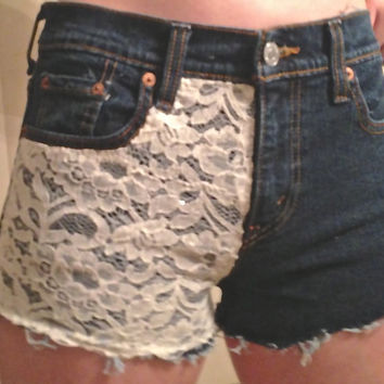 Highwaisted Shorts with Lace by DonishDesigns on Etsy
