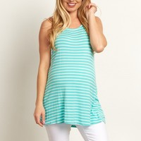 Mint-Green-Striped-Crochet-Back-Maternity-Tank-Top