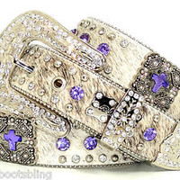 BHW CoWgiRl WeStErN BriNdLe PuRpLe PriSm CuT CoNcHo LeAtHeR BeLt
